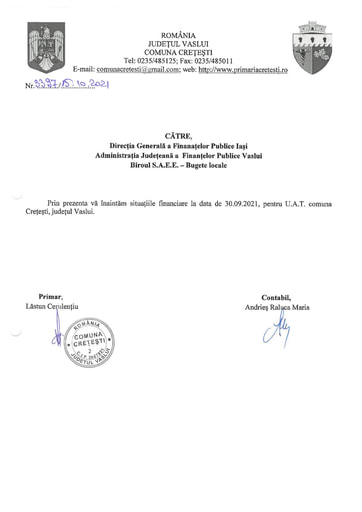 SITUATII FINANCIARE 30 09 2021 CRETESTI
