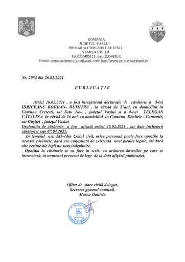 PUBLICATIE CASATORIE Idriceanu Bogdan Dumitru