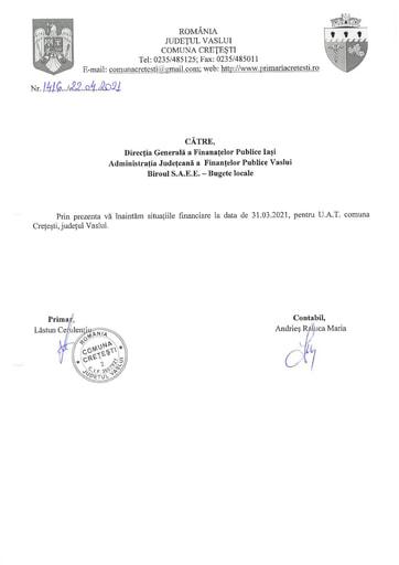 SITUATII FINANCIARE 31 03 2021 CRETESTI