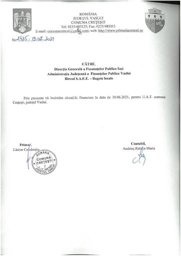 SITUATII FINANCIARE 30 06 2021 CRETESTI